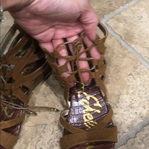 Sam Edelman Shoes - Tan gladiator strapped leather wedge sandals